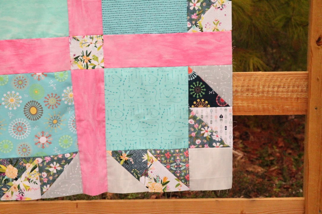 girl bear paw quilt detail